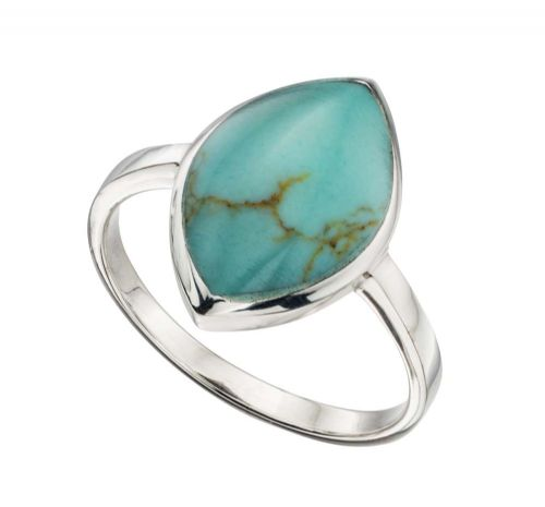 Blue Turquoise Marquise Shaped Sterling Silver Ring RHHLE